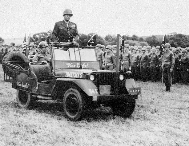 General Patton in a jeep