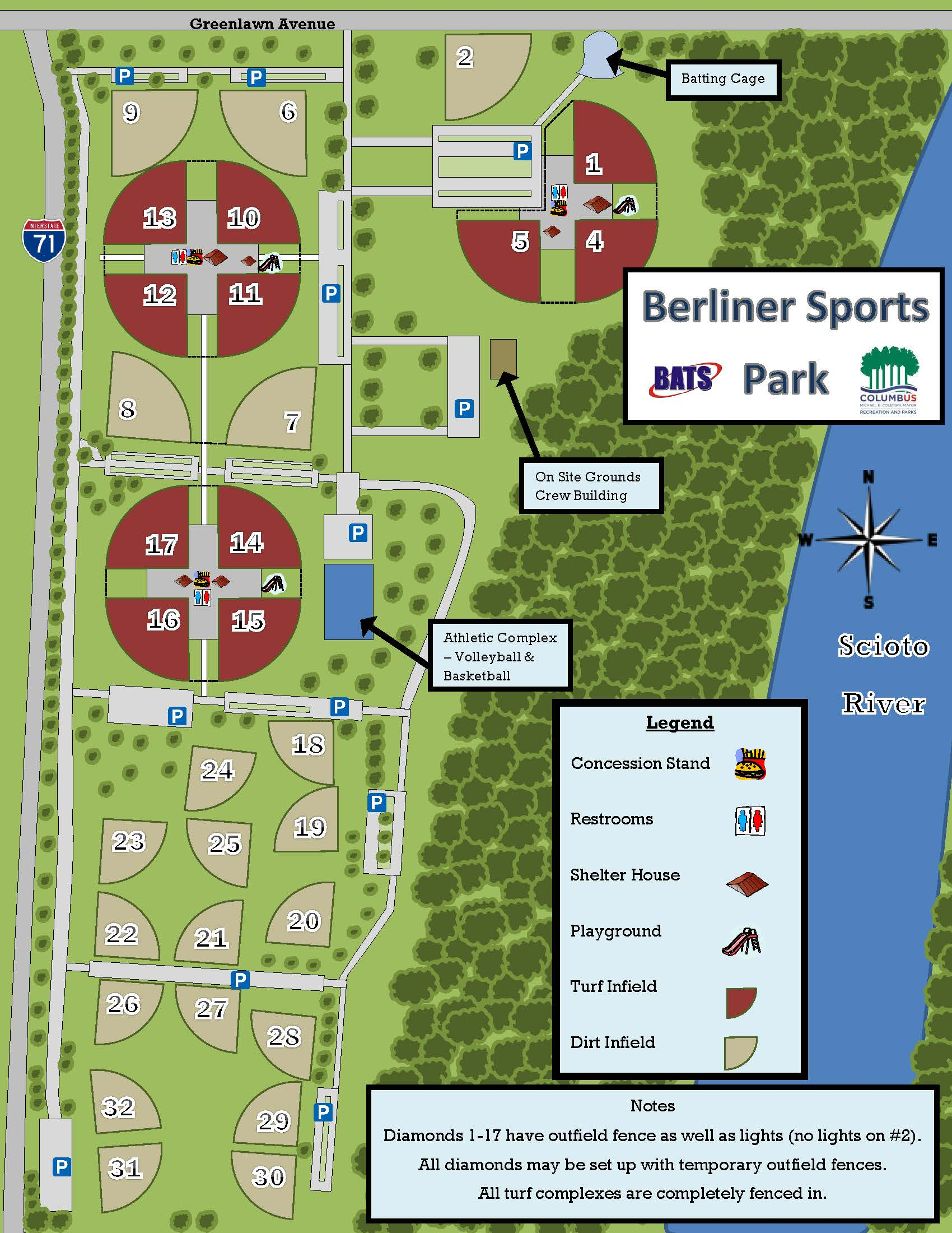 Berliner Park Map Berliner Park is the Largest Softball Complex in the U.S. Berliner Park Map